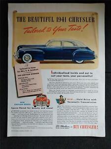 Vintage 1941 CHRYSLER CAR AUTOMOBILE 1940 Magazine Print Ad