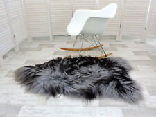 AMAZING REAL ICELANDIC SHEEPSKIN RUG SINGLE GREY/BLACK/BROWN, 230s