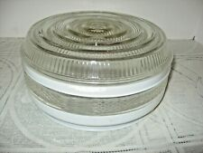 """CEILING LIGHT COVER, Clear & White Glass, 7"""" Diameter Opening"""