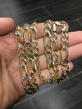 "30"" 8.5mm 45 Grams 10k Yellow Real Gold Diamond Cut Figaro Chain Necklace Mens"