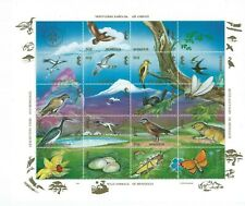 Mongolia Sc 2169a-r Minature Sheet of 18 Brown raptor, Woodpecker, Cranes, etc