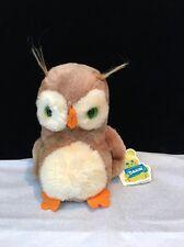 "Vintage 1975 Dakin Obie Owl  7"" Tags Bean Bag Nut Shells Made In Korea"