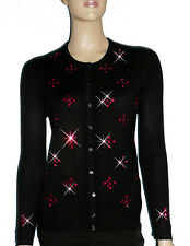 LUXE OH `DOR® 100% Cashmere Cardigan schwarz black rubin rot ruby red 34/36 S