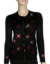 LUXE OH `DOR 100% Cashmere Kaschmir Strickjacke Luxus schwarz rubin rot 44/46 L