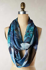 NWT Anthropologie Indicolite Infinity Scarf, One Size fits All,Blue Floral Loop