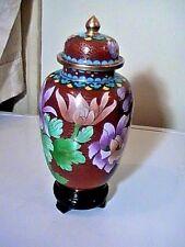 Gorgeous Spectacular Vintage Enamel Chinese Lotus Blossom Cloisonne Ginger Jar