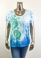 CHICO'S *NEW SIZE 3.  (XL) BLUE-GREEN TURTLE PRINT SHORT-SLV BOXY TOP $59