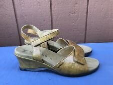 MEPHISTO 41 US 11 Yellow Animal Print Patent Leather Sling Back Straps Sandal A5