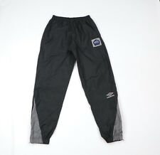 Vintage 90s Umbro Select Mens Small Soccer Spell Out Nylon Joggers Pants Black