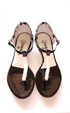 ec245cce258 Chanel Beaded Patent Leather Tweed CC Logo Thong Sandals Flats Shoes (38)