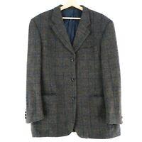 Harris Tweed 100% Laine Marron Veste Blazer Taille US/UK 44 Court Eur 54 Courtes