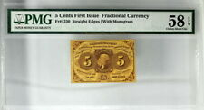 PMG CHOICE ABOUT UNC 58 EPQ 5 CENTS 1ST ISSUE FRACTIONAL CURRENCY W/MONO FR.1230