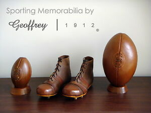 Rugby ball set   Vintage Tan Leather Rugby balls, Shoes & Wooden bases   Retro