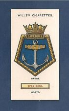 HMS CAPETOWN Royal Navy Ships Badge Crest LIGHT CRUISER 1925 original print card