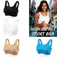 Womens Seamless Sport Bra Wireless No Padded Yoga Stretch Top Running Beige Plus