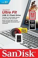 PENDRIVE SanDisk Ultra Fit Unità Flash, USB 3.1 da 32 GB con Velocità fino a 130