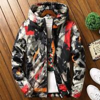 Mens Floral Zip bike Hoodie Coat Casual Hip hop Thick Jacket plus size M-7XL Hot