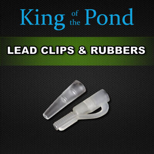 lead clips & rubbers with locking pin x10 of each, clear - carp fishing, carp