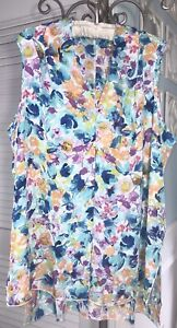 NEW Plus Size 2X Blue Blouse Floral Watercolor Silky V-Neck Top Shirt $58