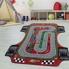 Kinderteppich Kinderzimmerteppich Rennstrecke Auto Rechteckig ROT