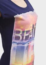 Brand New Womens Ladies Beach Print Cap T-shirt Top Navy Blue 16