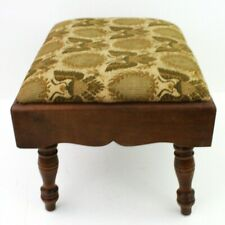 Vintage FOOTSTOOL OTTOMAN with wooden legs fabric seat