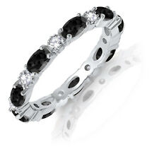 Oval Black Onyx CZ Eternity Stackable and Round Clear CZ Genuine Silver Ring