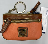 Dooney & Bourke Coin Purse Case Key Wallet Pebble Leather Zip Coral Brown NWT