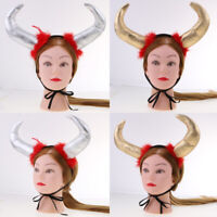 MagiDeal Large Devil Buffalo Ox Bull Horn Elastic Headband Halloween Costume