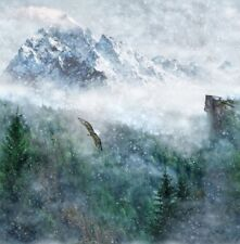 Call Of The Wild-Aspen Digital Panel By Hoffman Fabrics-Mountains-Eagle-Snow