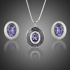 Platinum Plated Made With Swarovski Purple Crystal Earrings Pendant Necklace Set