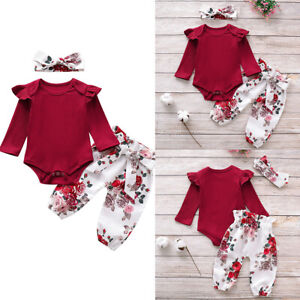 Toddler Baby Girl Ruffle Cotton Romper Tops T-shirts+Pants Trousers Clothes Sets