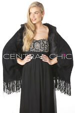 Central Chic Womens Black Faux Fur Trim Wrap Shawl Stole Cape Winter Weddings