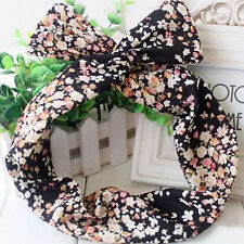50's BUNNY EARS RIBBON TIE BOW BENDY WIRE / WIRED HAIR SCARF HEAD WRAP BAND NEW