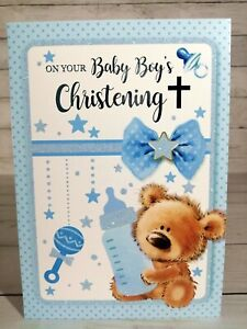 On Your Baby Boy's Christening Greetings Card, Cute Little Bear, Blue