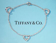 Tiffany & Co Elsa Peretti Sterlingsilber 3 offen Armband mit Herzanhänger