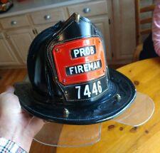 VINTAGE CAIRNS NEW YORKER LEATHER FIRE HELMET FDNY FIRE DEPT PROBATIONARY