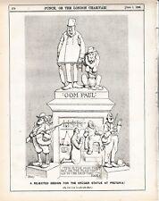 1896 Punch Cartoon Rejected Design for Oom Paul Statue Kruger Boer