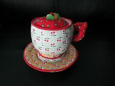Rare Fabric Mary Engelbreit Cherries Tea Cup & Saucer Pin Cushion Unique Sewing