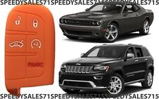 Orange Rubber Smart Key Fob Remote Case Cover For Jeep Dodge Chrysler New USA