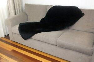 Black Sheepskin Plate Rug Large Throw Runner Bed Chair Floor Lamb Fur 60x140cm