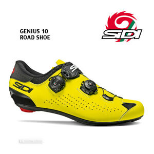 Sidi GENIUS 10 Road Cycling Shoes : BLACK/YELLOW FLUO - NEW in BOX