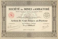 Madagascar, Societe des Mines d' Ambatobe SA, accion, Lyon, 1927