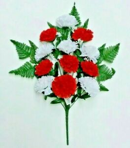 """Red & White Carnations 20"""" Bush 12 Blooms Fake Silk Flower Indoor Outdoor US New"""