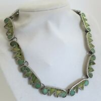Vintage Rare Taxco 950 Sterling Necklace 16in Green Inlay Mexico 65.8g [5189]