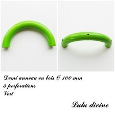 Demi anneau en bois de 100 mm avec trou, pour hochet bébé : Vert