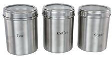 S/3 Stainless Steel Buckingham TEA/COFFEE/SUGAR Storage Canisters 10cm CLEAR LID