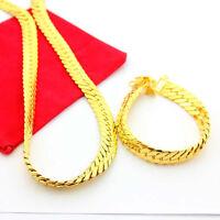 Cool 24K Gold Plated 12MM Soft Snake Skin Strong Men Necklace Bracelet Set jT012
