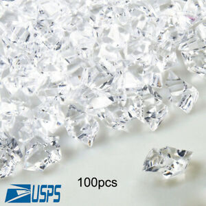 100pcs Artificial Ice Cubes Fake Diamonds Acrylic Clear Ice Rocks Vase Fillers