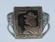 ART DECO NATIVE POSSIBLE PERU ESTATE 900 SILVER FOUR CORNER SHIELD RING BAND